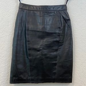 Vintage Pelle Cuir Genuine Leather Pencil Skirt